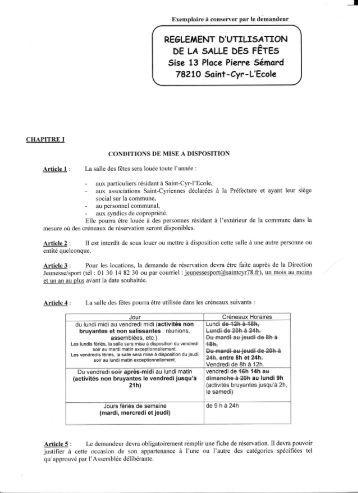REGLEMENT D'UTILTSATION DE LA 5ALLE DEs TÊTES Sise 13 ...