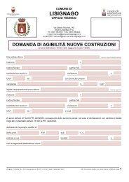 10. Domanda di agibilità nuove costruzioni - Comune di Lisignago