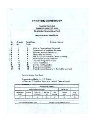 Organizational Behaviour - Preston University