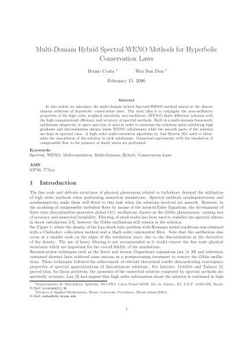 Multi-Domain Hybrid Spectral-WENO Methods for Hyperbolic ...
