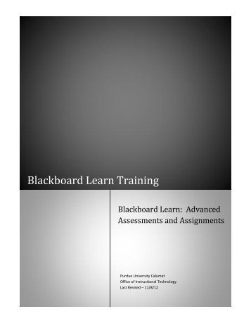 Blackboard Learn – Advanced Assessments and Assignments