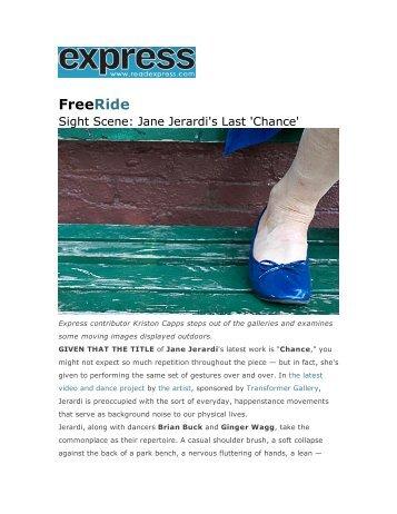 """Sight Scene: Jane Jerardi's Last 'Chance'"" - Express ... - Transformer"