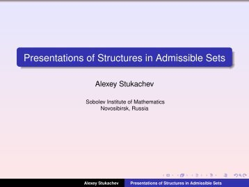 Presentations of Structures in Admissible Sets