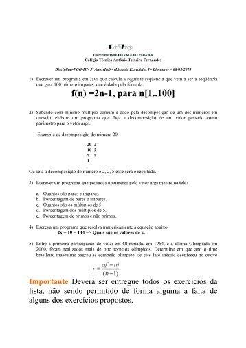 Lista de POO-III - 1Bim (Java) - Univap