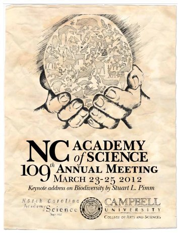 Schedule and Program - North Carolina Academy of Science