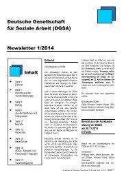 Deutsche Gesellschaft für Soziale Arbeit (DGSA) Newsletter 1/2014
