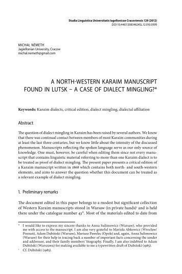 a north-western karaim manuscript found in lutsk – a case of dialect ...