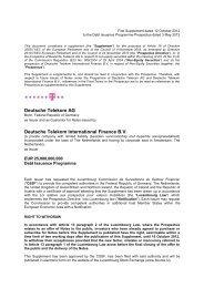 Deutsche Telekom AG Deutsche Telekom International Finance B.V.