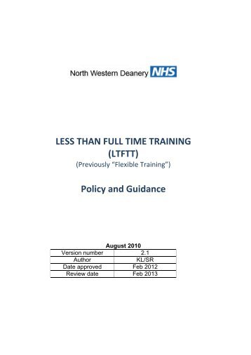 You can download the full policy here - North Western Deanery