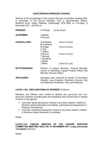 CASTLEREAGH BOROUGH COUNCIL Minutes of the proceedings ...