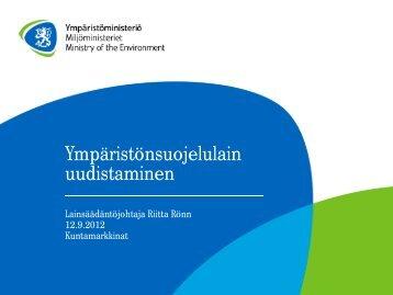 Ympäristönsuojelulain uudistaminen - Kuntamarkkinat