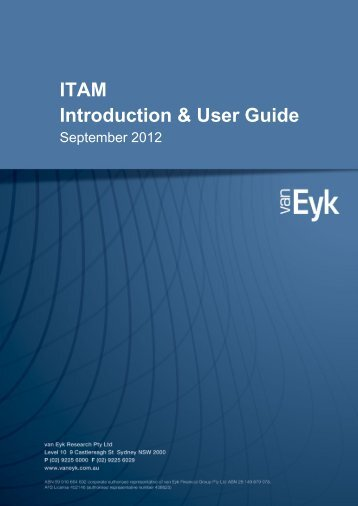 ITAM Introduction & User Guide - van Eyk Conference
