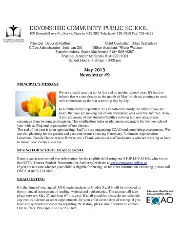 May 2013 - Devonshire Community Public School - Ottawa-Carleton ...