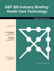S&P 500 Industry Briefing: Health Care Technology - Dr. Ed ...