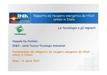 Presentazione del Rapporto ENEA-Federambiente