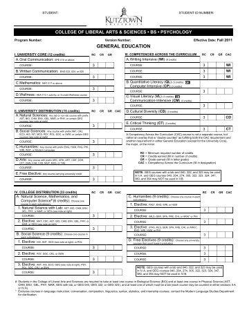 Curriculum sheet Fall 2011 - Kutztown University