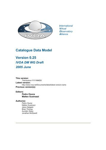 IVOA Catalogue Data Model