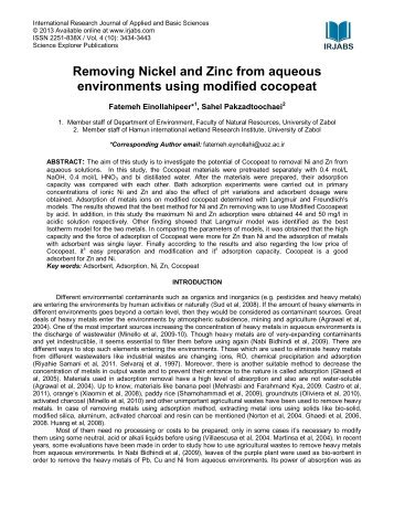 Removing Nickel and Zinc from aqueous environments ... - irjabs.com