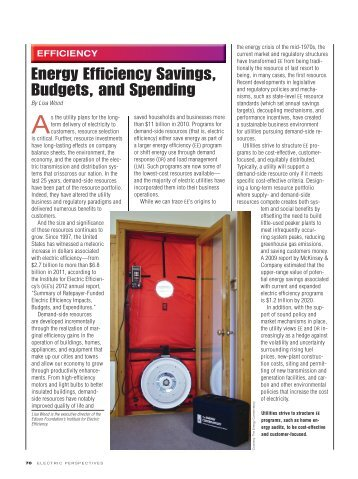 Energy Efficiency Savings, Budgets, and Spending - Edison ...