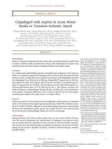 Clopidogrel with Aspirin in Acute Minor Stroke or Transient Ischemic ...