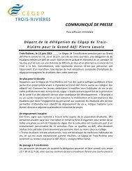 Rivière pour le Grand défi Pierre Lavoie - Cégep de Trois-Rivières