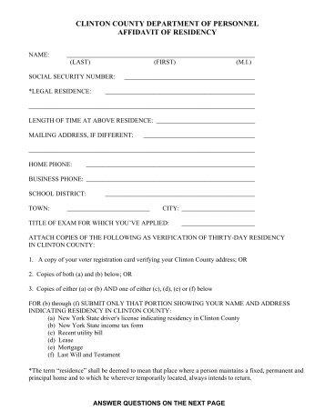 Form C Residency Affidavit for Caregiver Adult - Henderson County ...