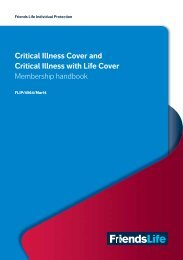 Critical Illness Cover Membership Handbook - Friends Life