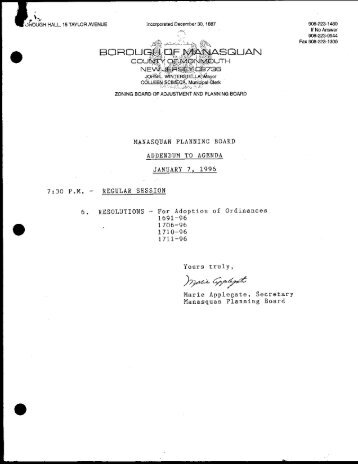 Manasquan Planning Board 1996D Meeting Minutes