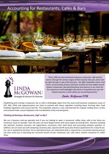 Accounting for Restaurants & Cafes - Linda McGowan Accountants