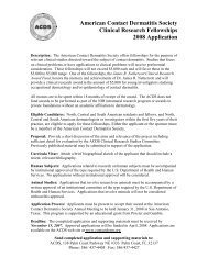 American Contact Dermatitis Society Clinical Research Fellowship ...