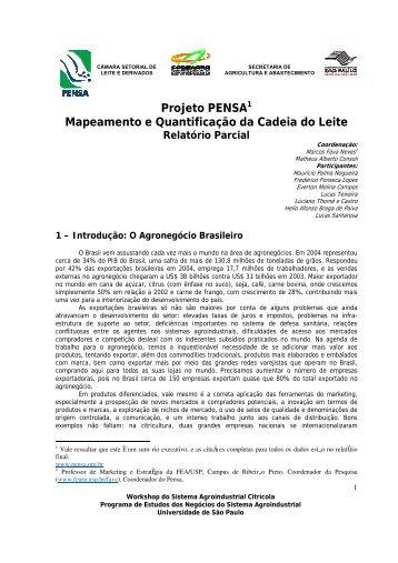 Projeto PENSA1 Mapeamento e Quantificação da Cadeia do Leite