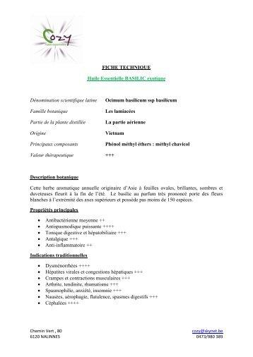 FICHE TECHNIQUE Huile Essentielle BASILIC ... - COZY Belgique
