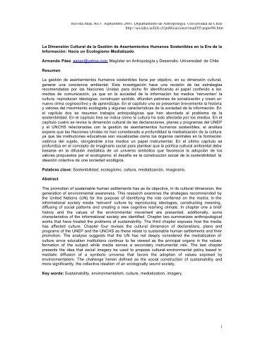 La Dimension Cultural de la Gestion de Asentamientos Humanos ...