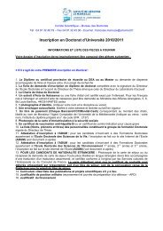 Inscription en Doctorat d'Université 2010/2011 - Timone.univ-mrs.fr ...