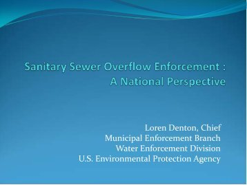 Sanitary Sewer Overflow Enforcement – A National Perspective