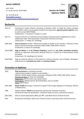 Curriculum Vitae - Lutheries Acoustique Musique - Université Pierre ...