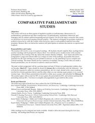 Comparative Parliamentary Studies - Department of Political Science