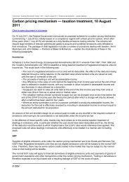 Carbon pricing mechanism — taxation treatment, 10 ... - CCH Australia
