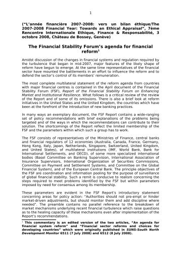 The Financial Stability Forum's agenda for financial reform1 - Ibase