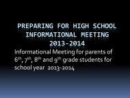 preparing for high school informational meeting 2013-2014