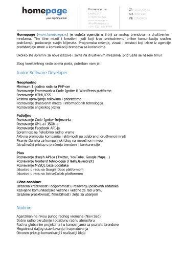 Junior Software Developer Nudimo - Razvoj karijere