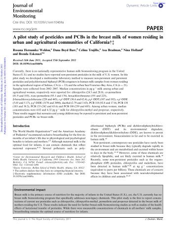 A pilot study of pesticides and PCBs in the breast milk of women ...