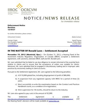 IN THE MATTER OF Ronald Lann --- Settlement Accepted - IIROC