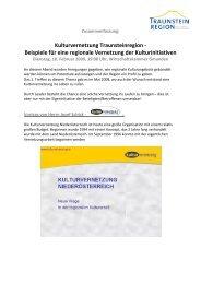 Beispiele für eine regionale Vernetzung der ... - Traunsteinregion