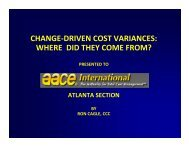 change-driven cost variances - AACE International - Atlanta Section