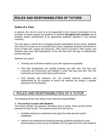 roles and responsibilities personal tutor workspace