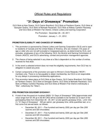 """31 Days of Giveaways"" Promotion - Winner's Circle Rewards"