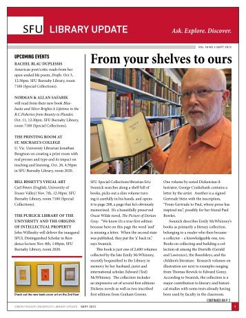 From your shelves to ours - SFU Library - Simon Fraser University