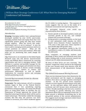 Emerging Markets Strategy Call - July 2013 - William Blair