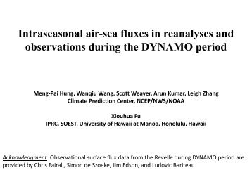 Intraseasonal air-sea fluxes in reanalyses and observations during ...